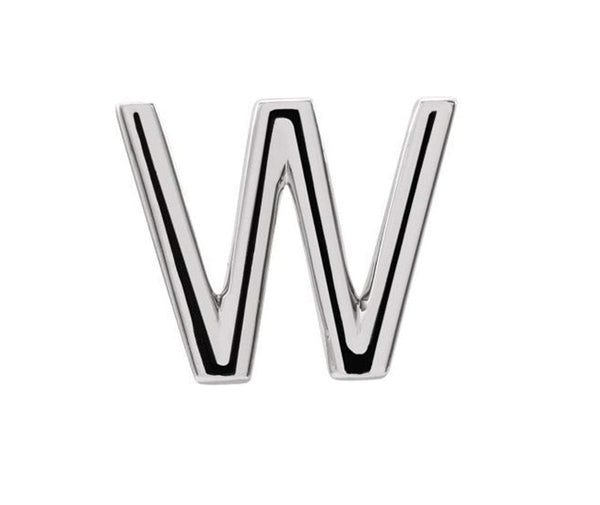 Platinum Initial Letter 'W' Stud Earring (Single Earring)