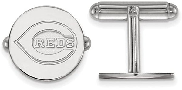 Rhodium-Plated Sterling Silver Cincinnati Reds Cuff Links, 15MM