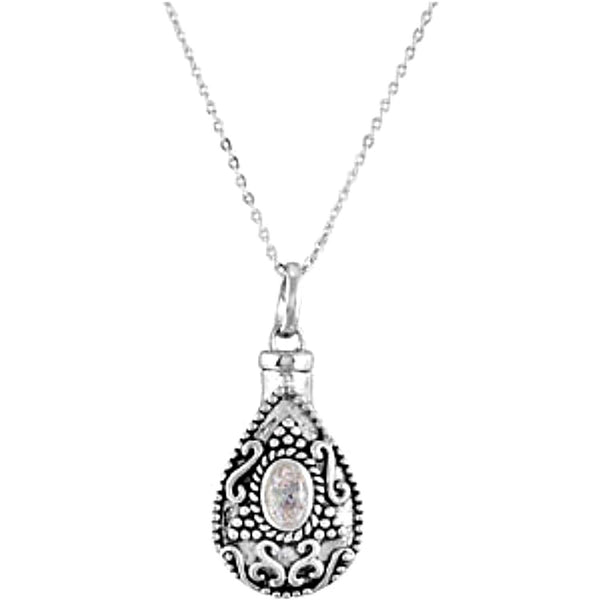 White CZ Teardrop Ash Holder Necklace, Rhodium Plate Sterling Silver, 18""