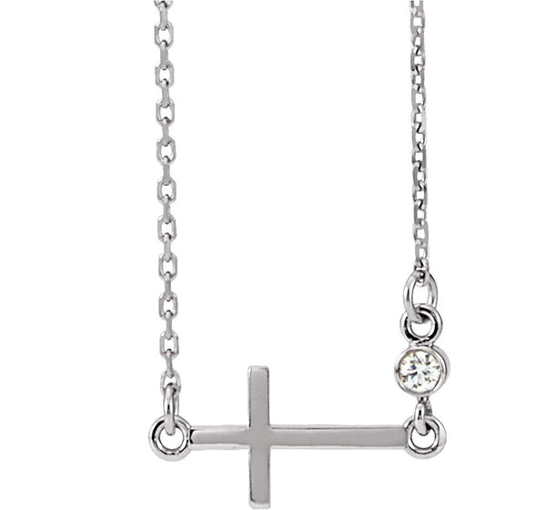 "Platinum Diamond Sideways Cross Necklace, 16""-18"" (.03 Ct, G-H Color, SI2-SI3 Clarity)"