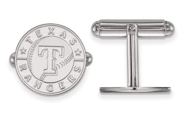 Rhodium-Plated Sterling Silver, MLB Texas Rangers Cuff Links, 15MM