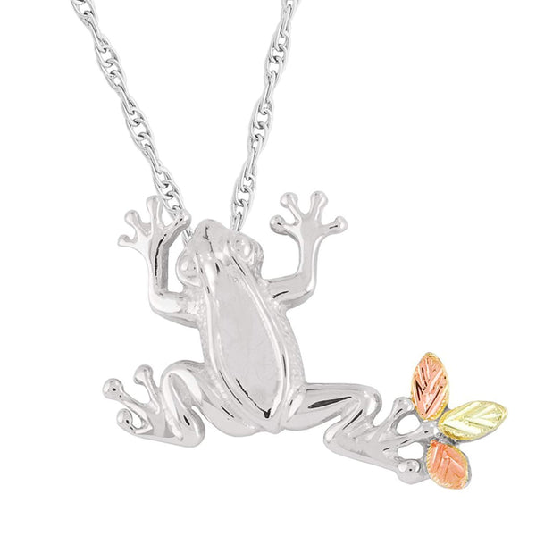 Frog Slider with Rope Chain Pendant Necklace, Sterling Silver, 12k Green and Rose Gold Black Hills Gold Motif, 18""