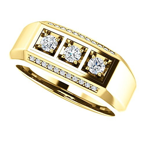 Men's 3 Stone Bright Set Diamond 14k Yellow Gold Band, Size 11 (.50 Cttw, GH Color, I1 Clarity)