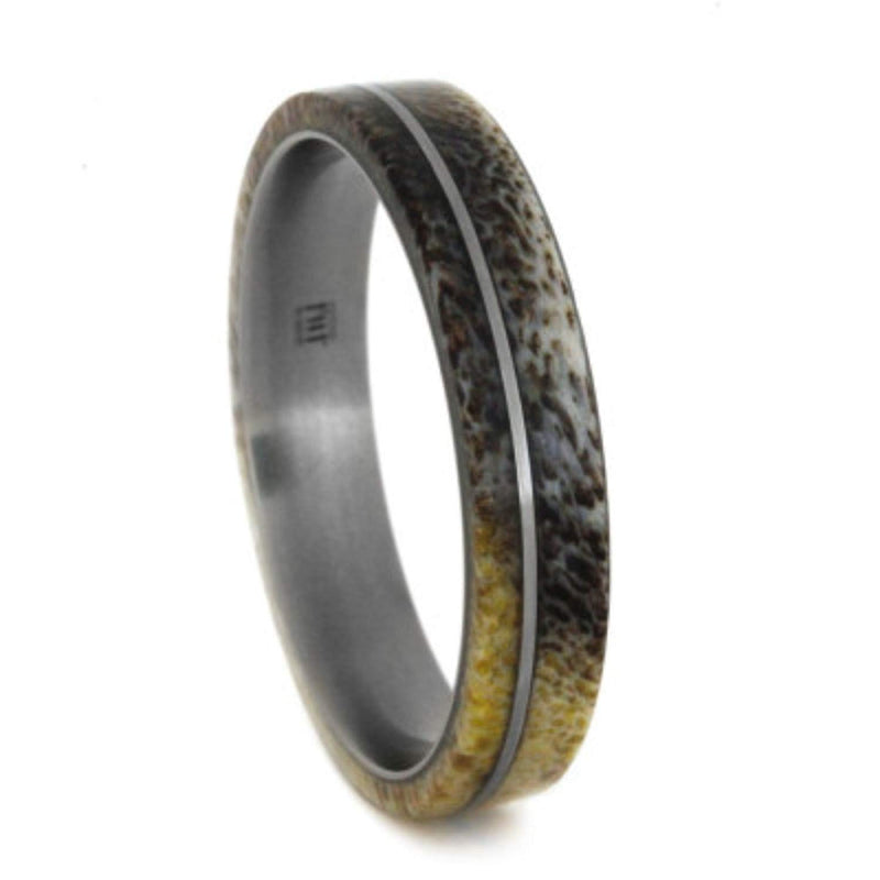 Deer Antler 5mm Comfort-Fit Matte Titanium Band