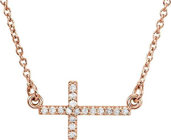 "17-Stone Diamond Sideways Cross 14K Rose Gold Pendant Necklace, 16-18"" (.01 Cttw)"