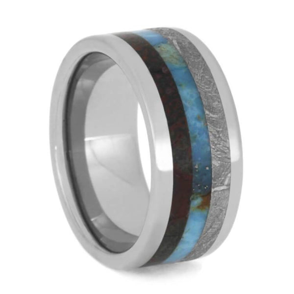 The Men's Jewelry Store (Unisex Jewelry) Gibeon Meteorite, Turquoise, Dinosaur Bone 9mm Titanium Comfort-Fit Band