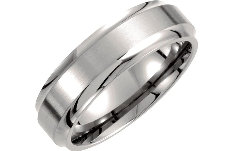 Titanium 7mm Satin Comfort Fit Band, Size 6