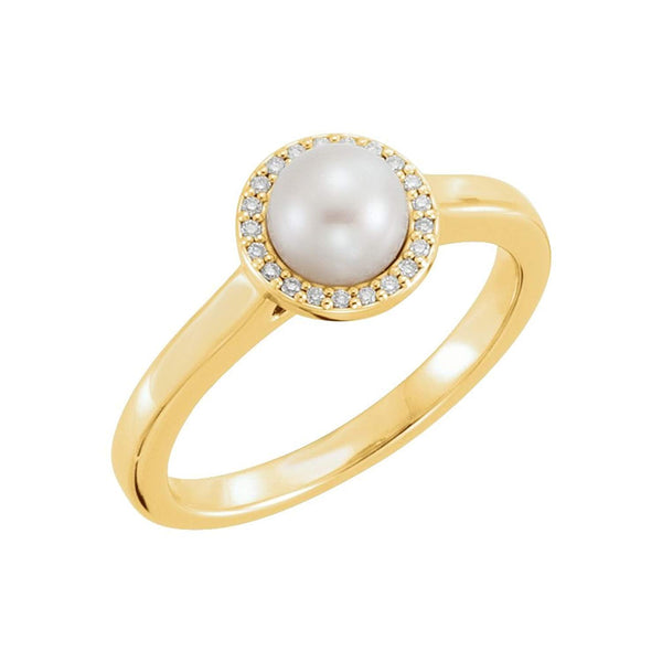 White Freshwater Cultured Pearl and Diamond Halo Ring, 14k Yellow Gold (5.5-6mm) (.05Ctw, G-H Color, I1 Clarity)