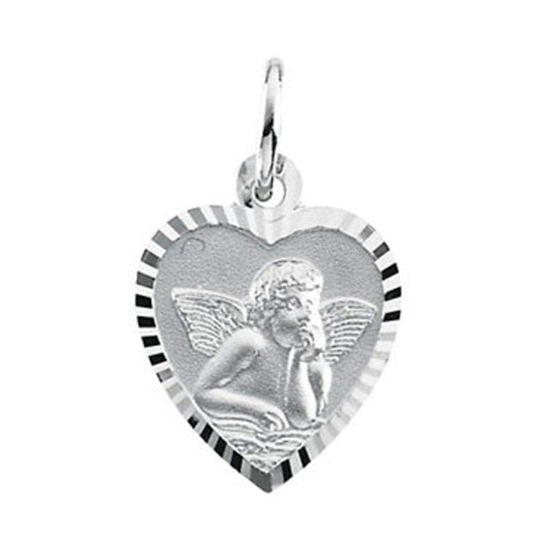 Petite 14k White Gold Angel Heart Medal (15.25 x 13.75 MM)
