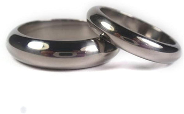Mirror Finish Titanium, His and Hers Wedding Band Set, M8-F6