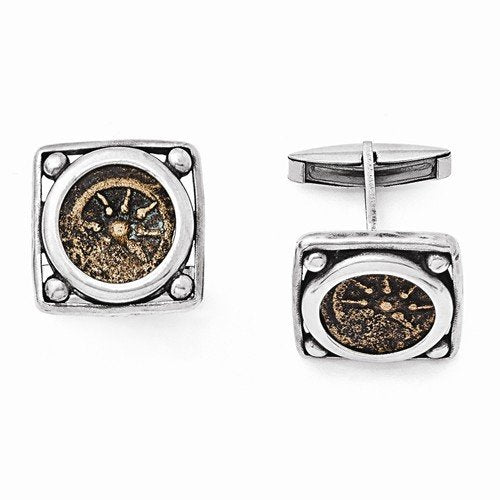 Sterling Silver and Bronze Antiqued Widows Mite Coin Cuff Links, 19MM