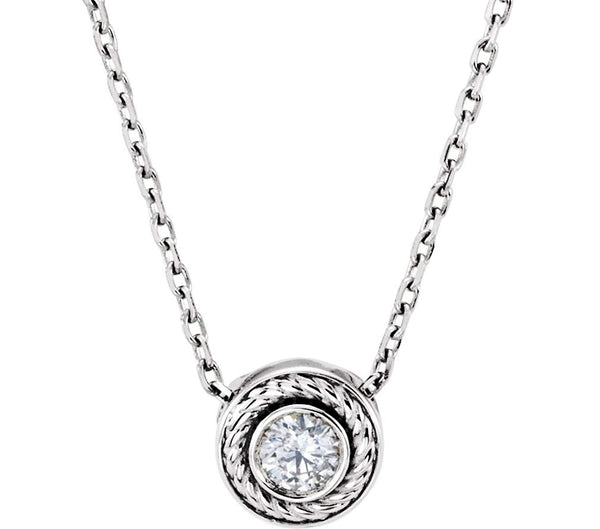 "Platinum Diamond Solitaire Rope Trim Pendant Necklace, 16 "" (0.1 Cttw)"