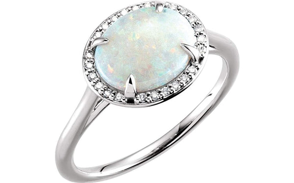 14K White Gold, Opal Cabochon and Diamond Oval Halo Ring, Size 7