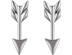 Satin-Finish Arrow Earrings, Rhodium-Plated Sterling Silver