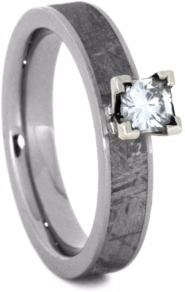 Forever One Moissanite, Gibeon Meteorite 4mm Comfort-Fit Titanium Ring, Size 7.75