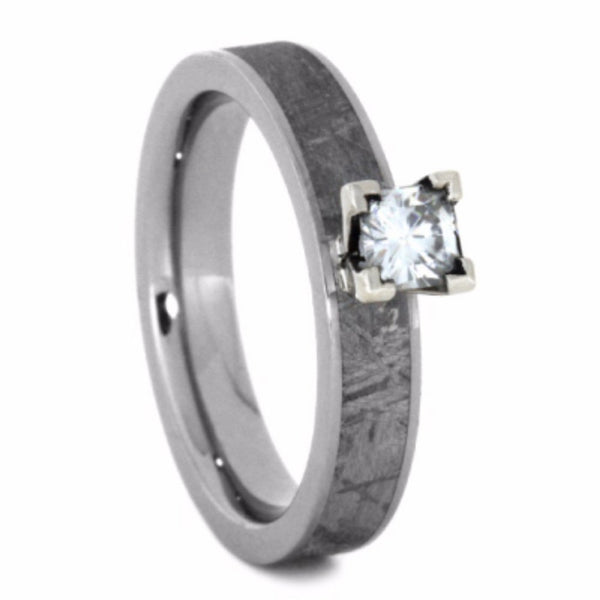 Charles & Colvard Moissanite, Gibeon Meteorite 4mm Comfort-Fit Titanium Wedding Band