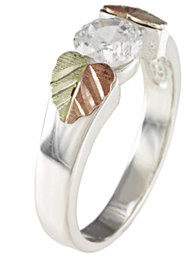 Sterling Silver Solitaire Cubic Zirconia Ring with 12k Rose and Green Gold, Size 4