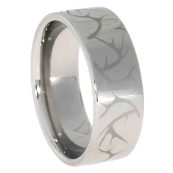 Engraved Deer Antler Pattern 8mm Comfort Fit Titanium Band