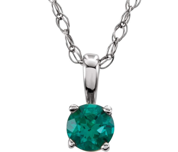 Children's Imitation Emerald 'May' Birthstone 14k White Gold Pendant Necklace, 14""