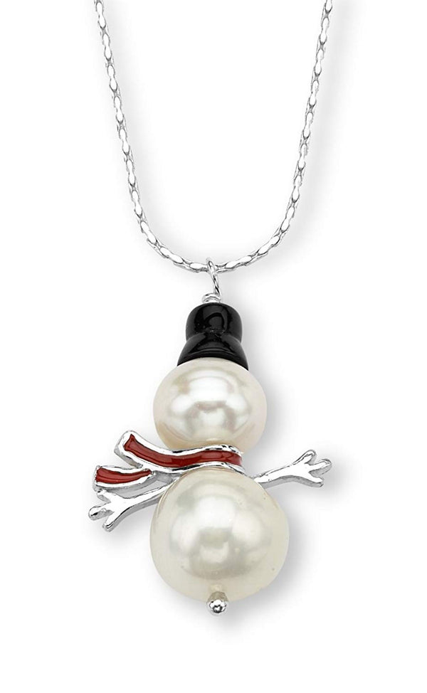 White Cultured Freshwater Pearl, Black Onyx Cap Snowman Rhodium Plated Sterling Silver Necklace, 18""