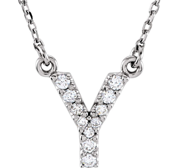 Diamond Initial 'Y' Rhodium Plate 14K White Gold (1/10 Cttw, GH Color, I1 Clarity), 16.25""