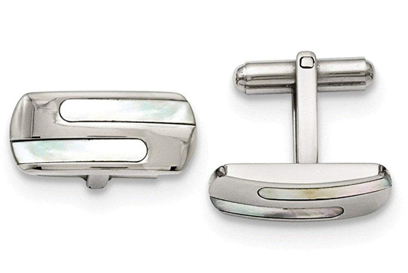 Stainless Steel Polished Mother of Pearl Rectangle Cuff Links, 22X10MM