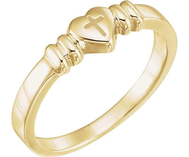 14k Yellow Gold Cross Heart Signet Ring, Size 4