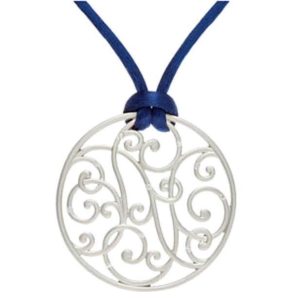 "10-Stone Diamond Filigree Scrollwork Sterling Silver Pendant Necklace, Navy Cord, 18"" (1/10 Ctw)"