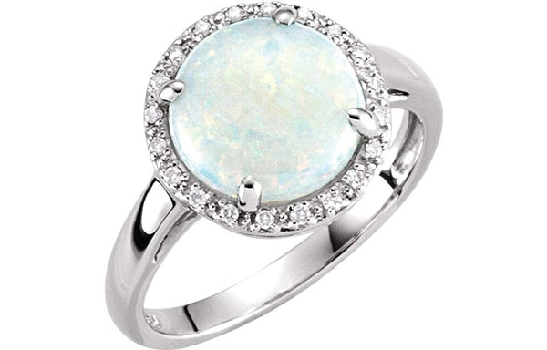 Cabochon Opal and Diamond Halo 14k White Gold Ring, Size 7