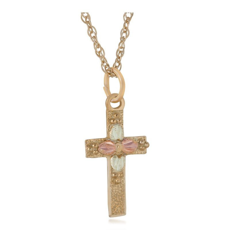 Hammered Finish Cross Necklace, 10k Yellow Gold, 12k Green and Rose Gold Black Hills Gold Motif, 18""