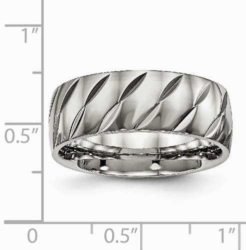 Titanium Precision Diamond-Cut Design 8mm Comfort-Fit Band, Size 10.5