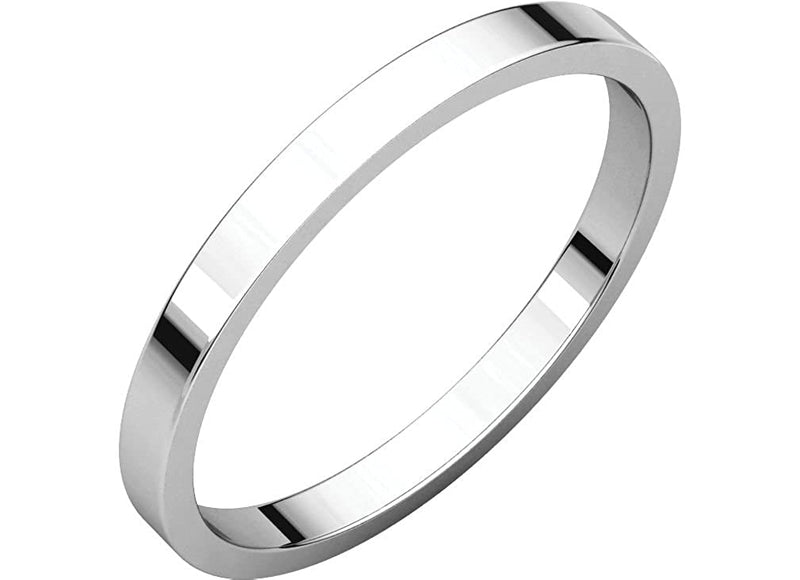 14k White Gold Slim-Profile Flat 2mm Band