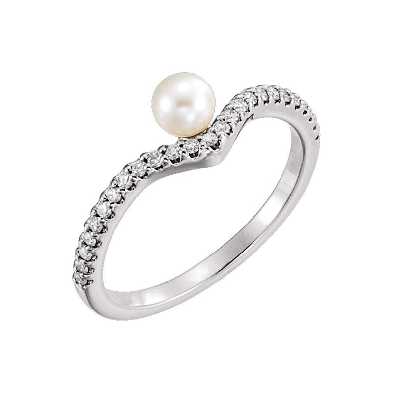 White Freshwater Cultured Pearl, Diamond Asymmetrical Ring, Sterling Silver (4-4.5mm)(.2 Ctw, G-H Color, I1 Clarity)