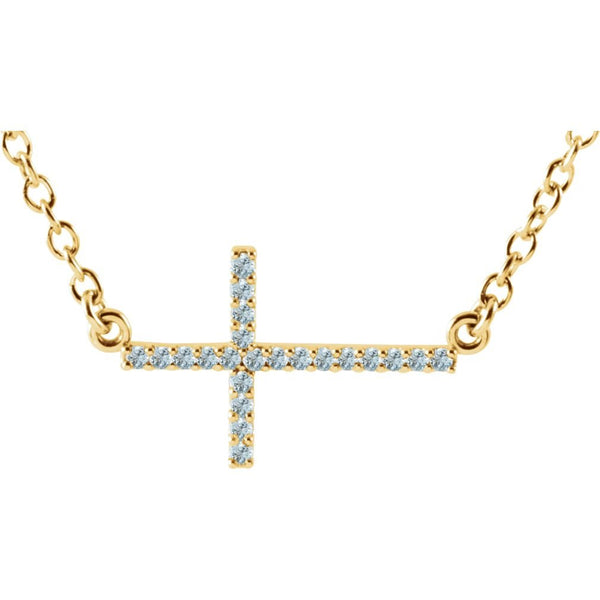 17-Stone Aquamarine Sideways Cross 14k Yellow Gold Pendant Necklace, 16-18""