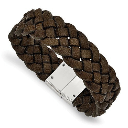 Men's Polished Stainless Steel Woven Brown Leather Bracelet, 8.75""