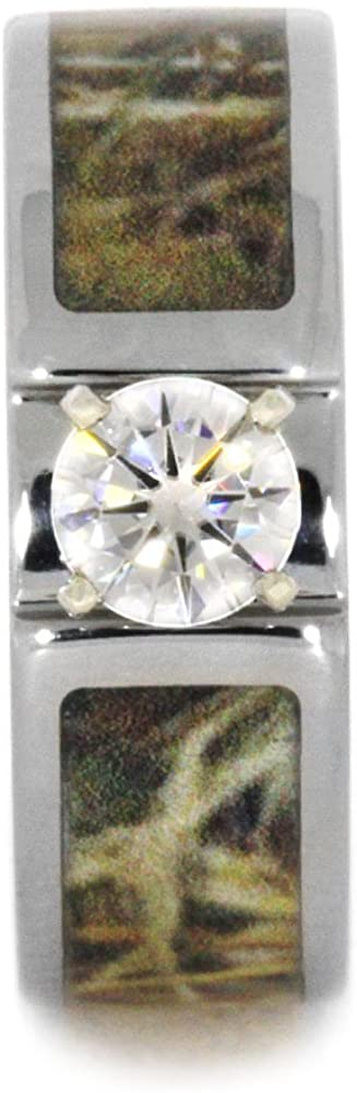 Forever One Moissanite with Camo Inlay 7mm Comfort-Fit Titanium Band, Size 15.25