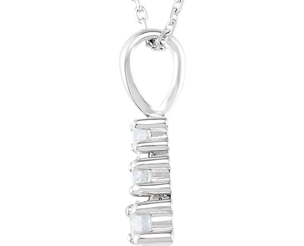 "3-Stone Diamond Rhodium-Plated 14k White Gold Pendant Necklace, 18"" (1/3 Ctw, GH, I1)"