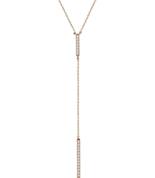 "Diamond Bar Y Necklace in 14k Rose Gold, 16-18"" ( 1/5 Ctw, Color G+, Clarity I1)"