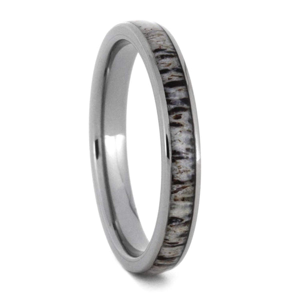 Slim Profile Deer Antler 3mm Comfort-Fit Titanium Band