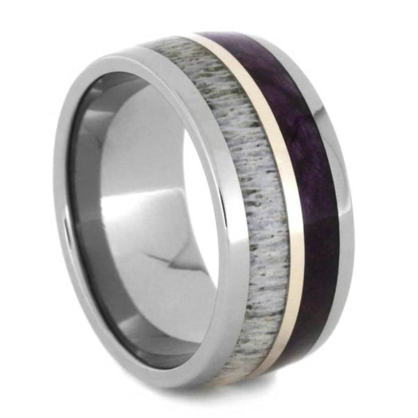 Purple Box Elder Burl, Deer Antler, 14k White Gold Comfort-Fit Titanium Couples Wedding Band Set