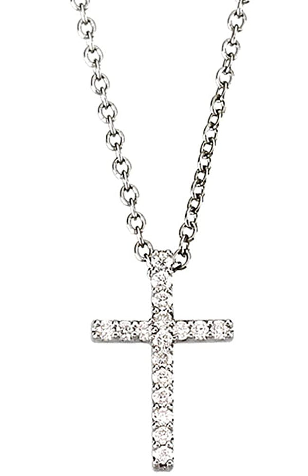 "Petite Diamond Church Cross Rhodium-Plated 14k White Gold Necklace, 18"" (.25 Cttw, GH Color, I1 Clarity)"