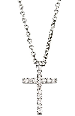 "Petite Diamond Western Cross Rhodium-Plated 14k White Gold Necklace, 18"" (1/6 Cttw, GH Color, I1 Clarity)"