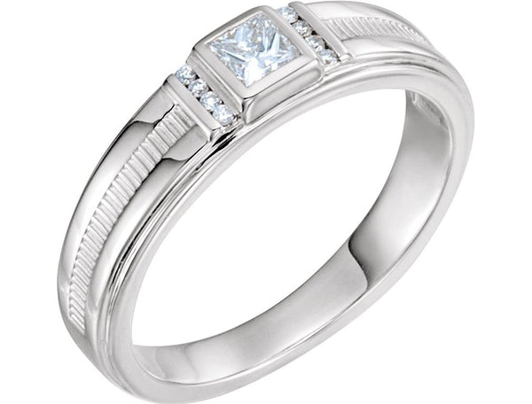 Men's Square-Cut Diamond Ring, Rhodium-Plated 14k White Gold (.33 Ctw, G-H Color, I1 Clarity) Size 13