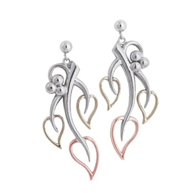 Past, Present, Future Heart Leaf Earrings, Rhodium Plated Sterling Silver, 10k Green and Rose Gold