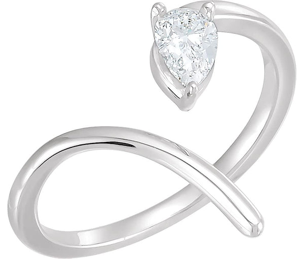 Pear Diamond Negative Space Ring, Rhodium-Plated 14k White Gold, Size 7