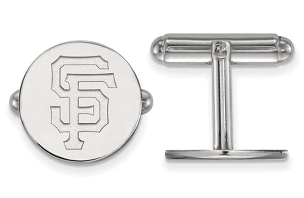 Rhodium-Plated Sterling Silver MLB San Francisco Giants Cuff Links, 15MM