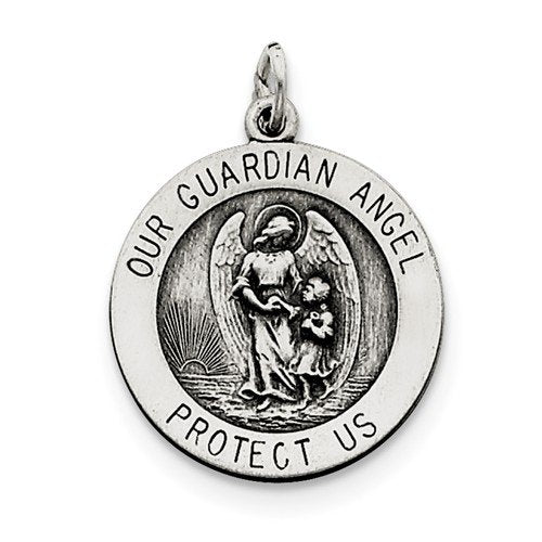 Sterling Silver Antiqued Guardian Angel Medal (25X20MM)