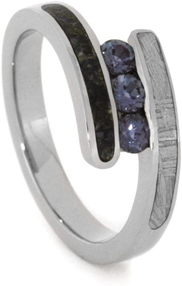 Chatham Created Alexandrite, Dinosaur Bone, Gibeon Meteorite 10k White Gold Ring, Dinosaur Bone Sterling Silver Band, Couples Wedding Set, M10.5-F9.5