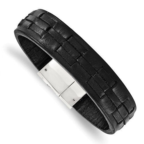 Men's Polished Stainless Steel Black Leather Bracelet, 8""