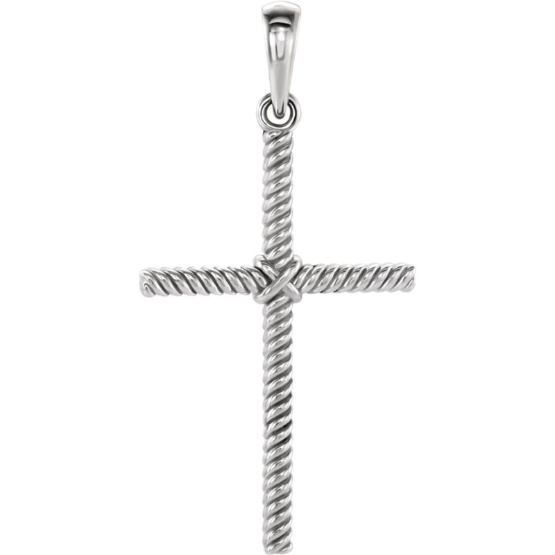 Rope Cross Rhodium-Plated 14k White Gold Pendant (31.9x16.2 MM)